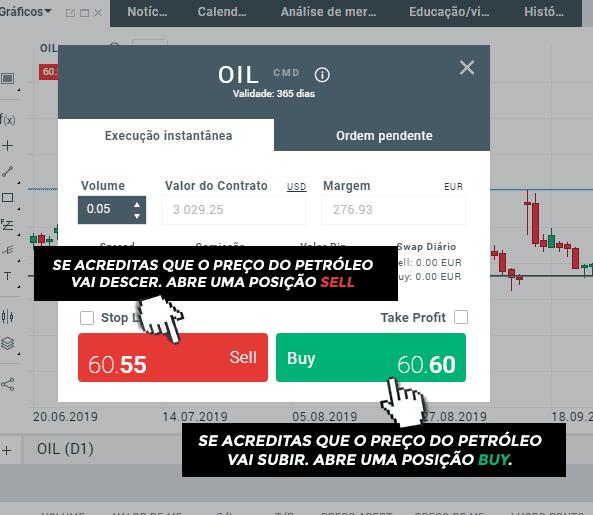 Abrir posição de petróleo na xStation 5