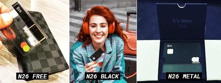 Cartões de Débito N26 - N26 FREE, N26 BLACK e N26 METAL