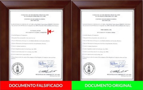 Documentos falsificados do scam forex Fxtradepoint.com