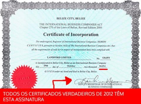 Certificado de Incorporação no Belize verdadeiro de 2012