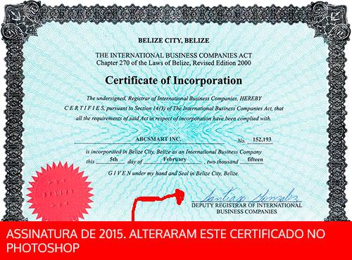 Certificado de Incorporação no Belize verdadeiro de 2015