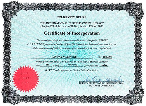 Certificado de Incorporação no Belize falso da PayDay Vision