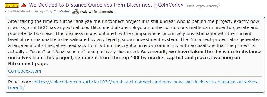 Site de criptomoedas e ICOs CoinCodex removeu BitConnect