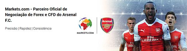 Corretora Markets.com patrocina o Arsenal F.C. desde 2014