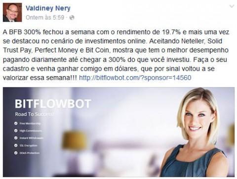 Valdiney Nery promovendo o investimento fraudulento BitFlowBot