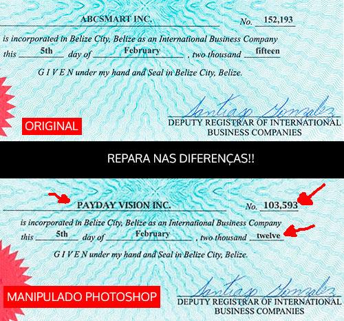 Diferenças entre certificado original e manipulado no Photoshop