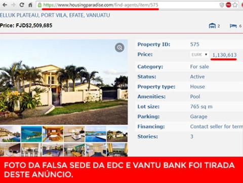 Foto da falsa sede da EDC e Vantu Bank foi retirada deste anúncio