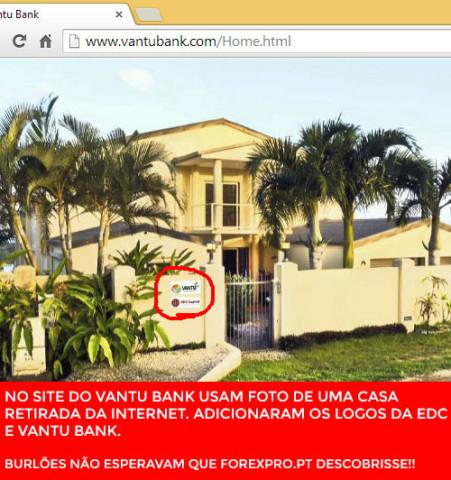 Foto falsa da sede do EDC Capital e Vantu Bank