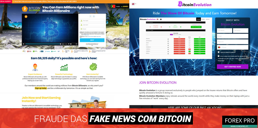 Fraude fake news Bitcoin com os sites Bitcoin Billionaire e Bitcoin Evolution