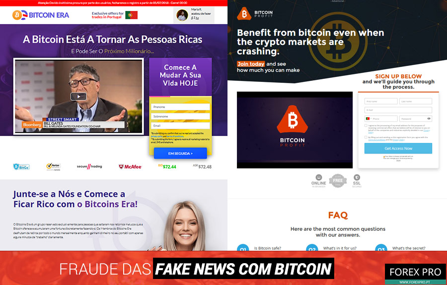 Fraude fake news Bitcoin com os sites Bitcoin Era e Bitcoin Profit