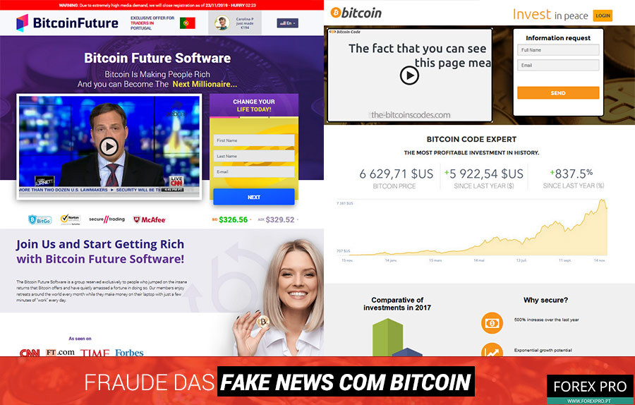 Fraude fake news Bitcoin com os sites Bitcoin Future e Bitcoin Code