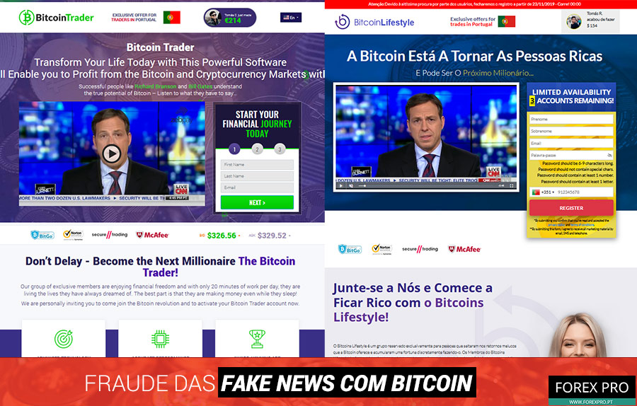 Fraude fake news Bitcoin com os sites Bitcoin Lifestyle e Bitcoin Trader