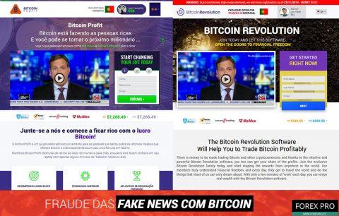 Fraude fake news Bitcoin com os sites Bitcoin Profit e Bitcoin Revolution