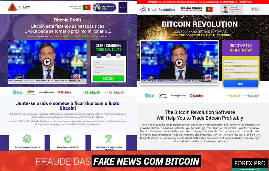 Fraude fake news Bitcoin com os sites Bitcoin Profit e Bitcoin Revolution