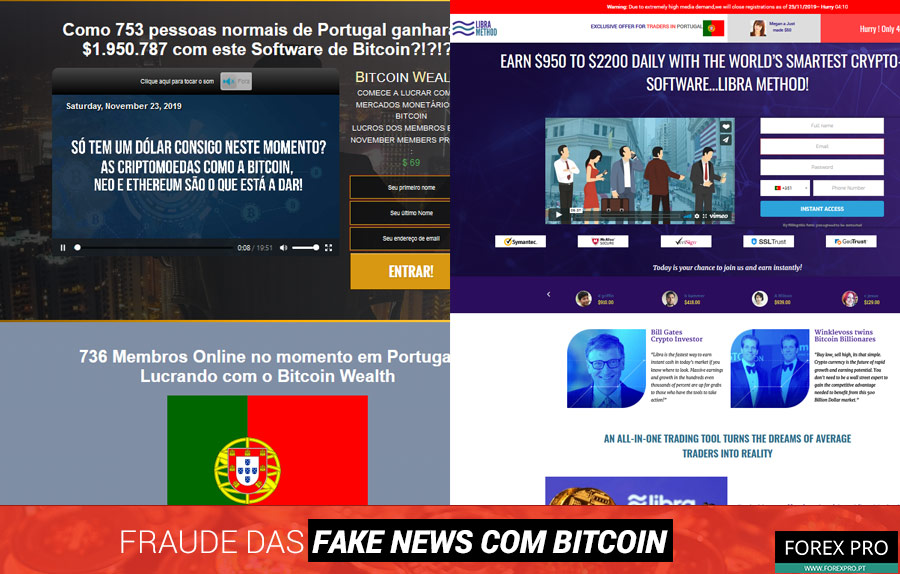 Fraude fake news Bitcoin com os sites Bitcoin Wealth e Libra Method Facebook