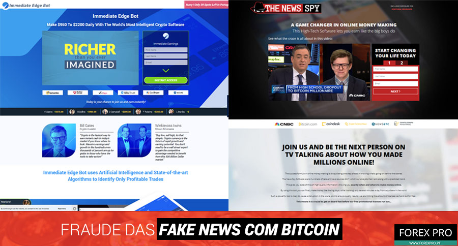 Fraude fake news Bitcoin com os sites Immediate Edge Bot e The News Spy