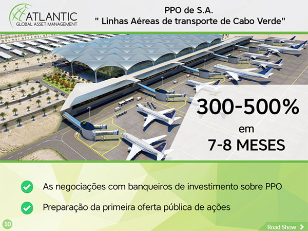 Mentira da empresa fictícia Atlantic Global Asset Management acerca do IPO às Linhas Aéreas de Transporte de Cabo Verde