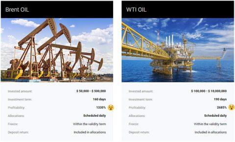 Pacotes do Ponzi Skyllex de investimento em Petróleo