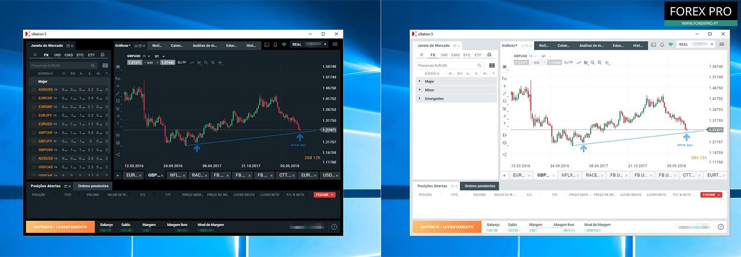 Plataforma XTB xStation disponível em duas cores.