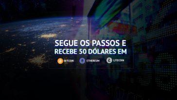 Como receber 50 dólares em Bitcoin, Ethereum ou Litecoin