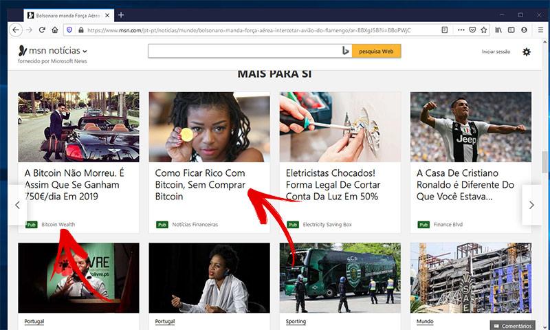 Publicidades do scam bitcoin no MSN