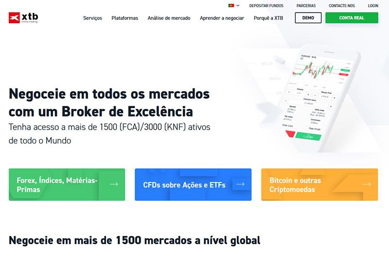 Site da corretora XTB Portugal